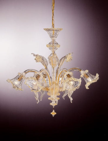 Transparent Murano glass baloton chandelier with 6 lights