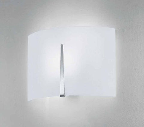 Large curved opal white Italian glass wall light by Micron