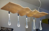 Wooden island ceiling light in 3 modern finishes