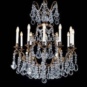 12 light brass chandelier with hand cut Bohemian crystals