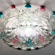 Clear & coloured Murano glass ceiling light fitting