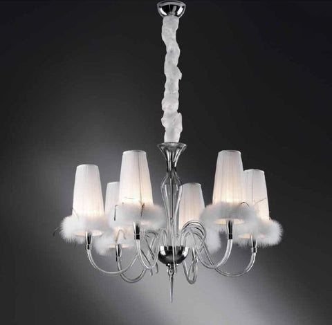 6 light clear glass chandelier with white feather- trimmed shade