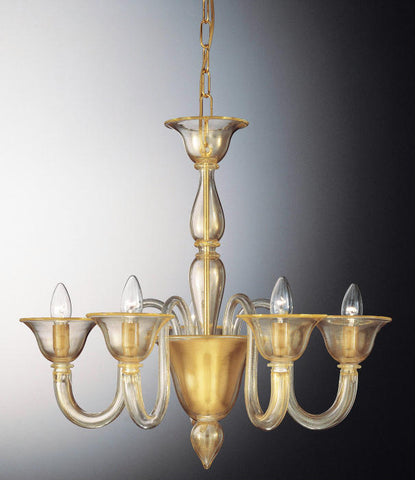 Gold Murano glass 5 arm chandelier with 24 carat gold