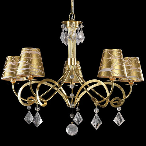 Bohemian crystal and gold-leaf chandelier with 5 shades