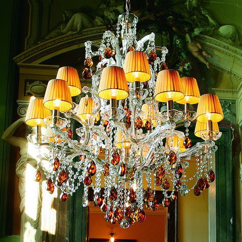 16 Light Crystal Glass Chandelier with Amber Organza Shades