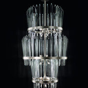 Show-stopping large stairwell chandelier with glass shards