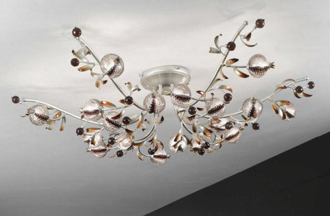 Platinum 18 light ceiling light with amethyst glass seed pods