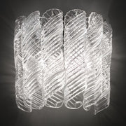 Bespoke 70s style white and clear Murano wall light