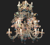 18 Light clear Murano glass chandelier with ceramic flowers