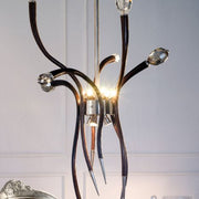Modern Italian brown snakeskin and crystal chandelier