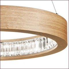 Circular oak pendant light with Asfour crystals