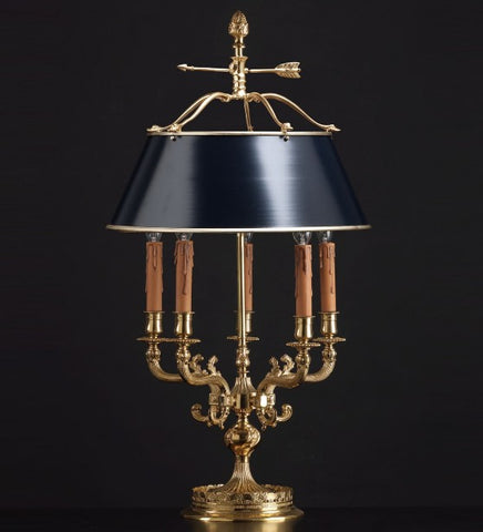 Bouillotte-style table lamp with Asfour crystals and black shade