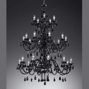 25 light chandelier with glass or Bohemian crystal pendants