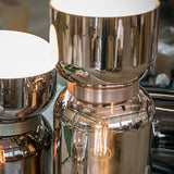 Modern table lamp in 2 fabulous metallic glass colourways