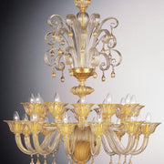 Venetian clear glass 24 light chandelier with 24 carat gold