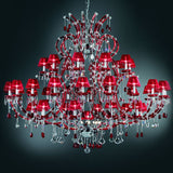 Large Crystal Chandelier with Red Organza Shades