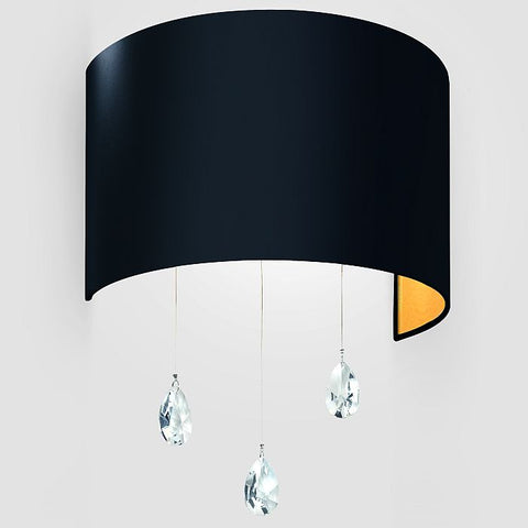 'Grace' black or white wall light with lead crystals and shade