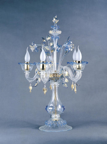 Clear Murano glass flambeau table lamp with blue flowers