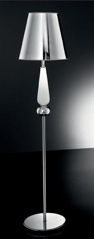 Modern floor lamp with white Murano glass decoration