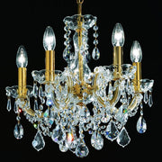 5 Light Gold Plated Crystal Glass Chandelier