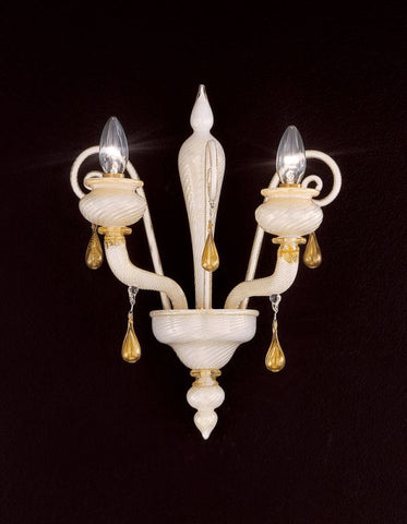 White and gold Venetian style Murano glass wall lamp