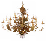 18 Lamp Gold Metal Chandelier with Swarovski Elements