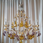 Murano Glass 8 Arm Fruit Chandelier with Silver Frame