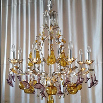 Filigree Decorated with gold leaf Murano glass chandelier