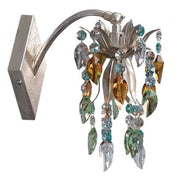 Silver Metal Wall Spotlight with Amber, Turquoise and Clear Swar