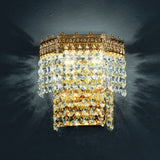 Gold Italian wall light with 24% lead crystal pendants