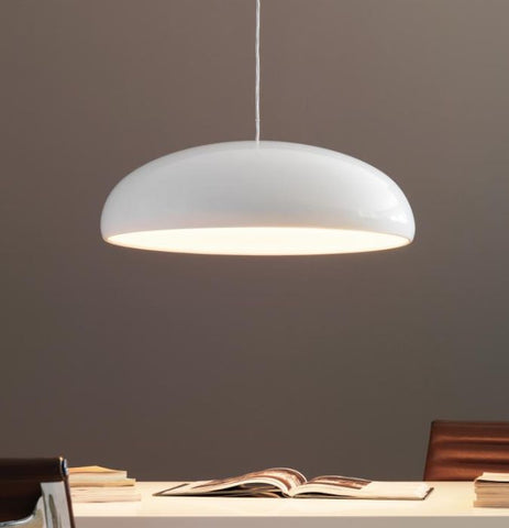 Shiny white modern metal pendant light with acrylic diffuser