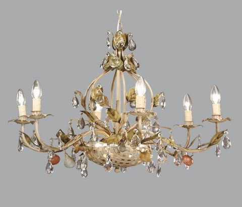 Fruit Designs & Glass Crystal Chandelier in Gold Metal
