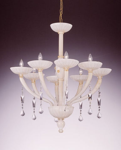 White and gold Murano Glass Chandelier