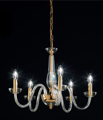 Elegant modern Italian chandelier with 5 lights and clear Murano glass arms