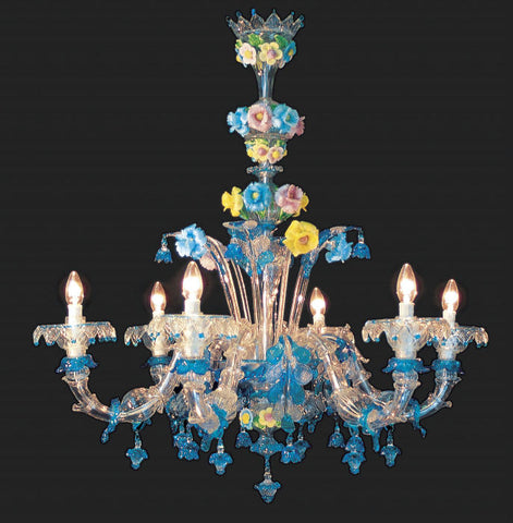 Murano Glass Chandelier with pink blue and yellow flowers