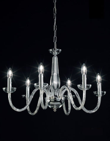 Elegant modern Italian chandelier with 6 lights and clear Murano glass arms