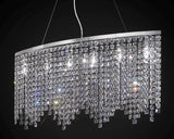 Beautiful modern dining room chandelier with glittering lead crystal octagons