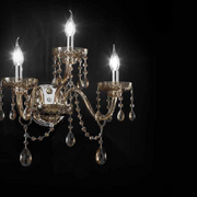Impressive gold or chrome wall chandelier with  sparkling Swarovski crystals
