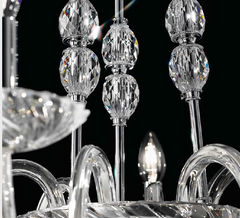 Elegant modern gold or chrome Italian chandelier with Swarovski crystal detail