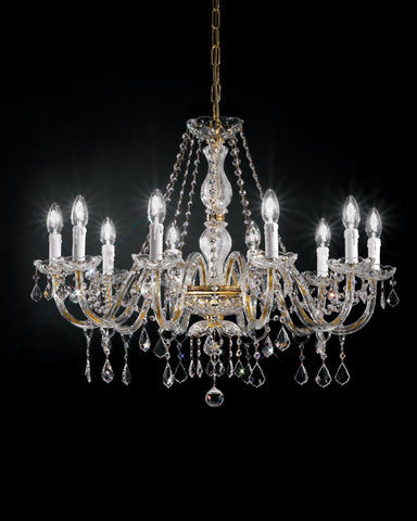 Decorative Italian gold or chrome chandelier with Asfour crystal in 8 sizes