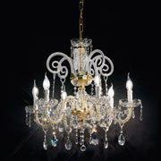 Exquisitely-crafted chrome or gold Italian chandelier with Asfour crystal