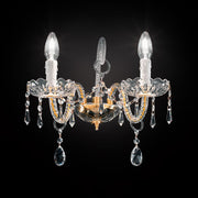 Exquisitely-crafted chrome or gold Italian wall light with Asfour crystal decoration