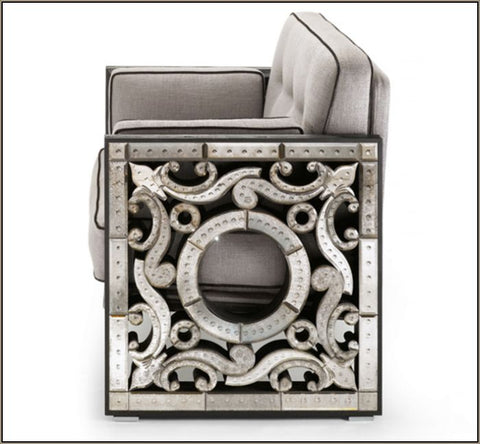 Italian armchair with beautiful Venetian mirrored side-pieces