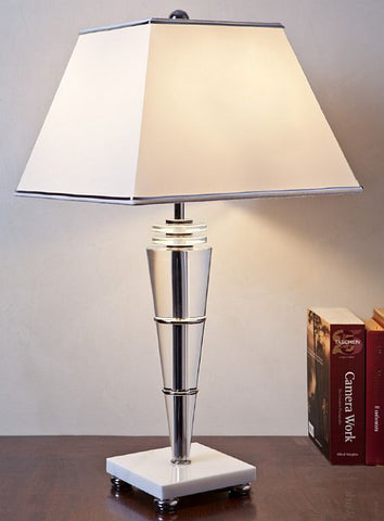 Italian crystal table lamp with white marble base