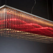 Long modern red & smoked glass rod ceiling pendant light