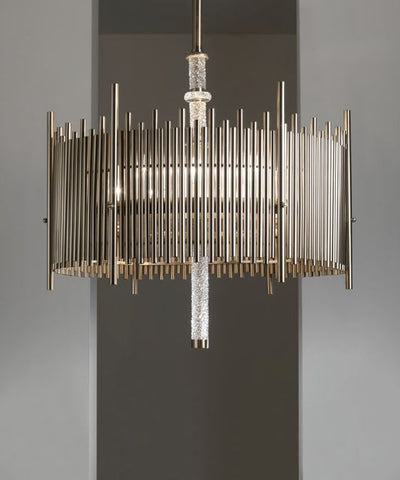 Modern metal chandelier with Italian crystal detail