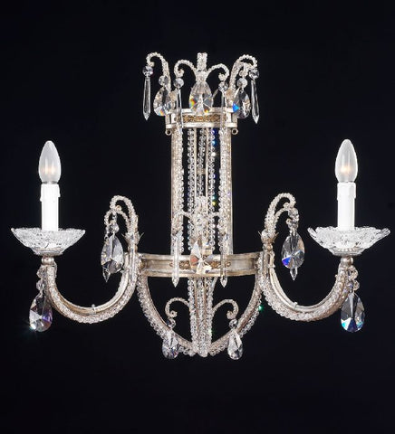 Antique Silver and Crystal Glass Wall Light
