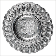 Chrome and glass recessed ceiling light