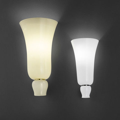 Anni Trenta straw yellow or white glass uplighter from Venini
