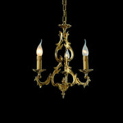 Traditional Italian gold-plated 3 arm candle chandelier
